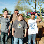 KC Thomas of TB Contractors (they built Kids Closet) with Collin, Teddy and Darrin; photo by Mary Kay Stein.