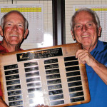 SMGA President Gan Avery presents Club Championship plaque to 2014 Club Champion Doug Swartz