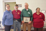 Left to right: Mrs. Kim Sloan, Ladies Auxiliary of the VFW; Commander George Phillips, VFW Post 10188; George Bidwell of SaddleBrooke Troop Support and President of Ladies Auxiliary VFW Post 10188 Francine Phillips