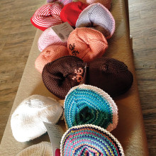 Knitted Knockers come in all sizes and colors; photo by Bette Stephens