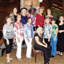 Fashion Show models: seated, Marry Carolin (Catalina Ranch House); front row, Sharon Miller (Catalina Ranch House), Ro Conti, Karel Titone, Pat Fink, Raye Cobb and Marcia Munich; back row, Cathy Scott, Gay Uhl, Betty Magee, Rachel Wankling and Aileen Hartley