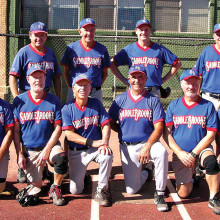 2014 Labor Day Tournament Community League Champion – SaddleBrooke R Us, back row: George Corrick, John Vosper, Brian Stevens and Greg West; front row: Tom Klein, Dave Stevens, Jake Jacobson, John Perfetti, Greg Morgan and Charles Hendryx; photo by Pat Tiefenbach