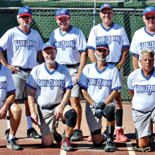 2014 Labor Day Tournament Coyote League Champion – Vantage West Credit Union, back row: Dominic Borland, George Corrick, Larry Cusumano and Dale Norgard; front row: Rob Gish, Dave Stevens, Allan Kravitz and Alan Stein; photo by Harold Weinenger