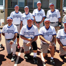2014 Labor Day Tournament Competitive League Champion – Danny Nolan Handyman, back row: Charlie LaNeve, David Bohlman, Tim Ward, Bobby Carbone and Harold Weinenger; front row: Joe Passoni, John Perfetti, Bob Chiarello, Bruce Fink and Ken Crossman; photo by Carol Chiarello