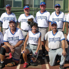 2014 Summer Season Friday Community League Champion – BRAKEmax: Back row: Charlie LaNeve, Jerry Cowart, Pat Brennan, Steve Krantz and Leroy Johnson; front row: Rob Gish, Steve Wehmann, Debbie Seguin, Harold Weinenger and Allan Kravitz; photo by Pat Tiefenbach