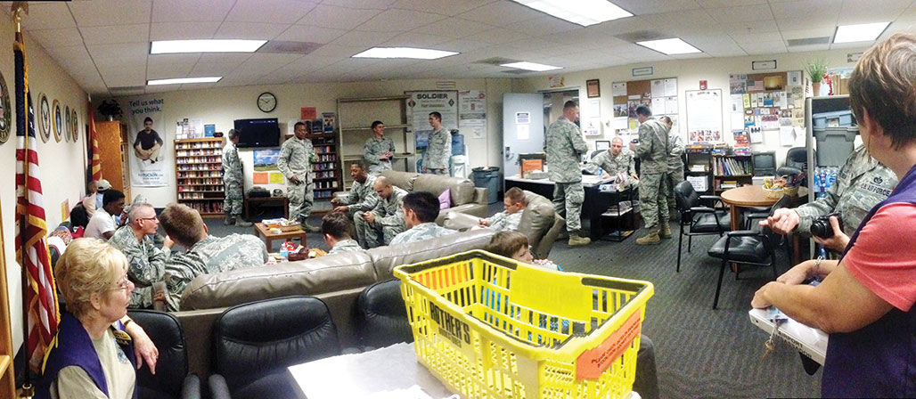 The Military Lounge at the Tucson Airport. Twenty-six military were present at this time and the snacks disappeared rapidly. The woman on the left is Sandi Mahanna, an STS member and volunteer to the MLO along with her husband Tim.