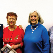 Mary Lou Hackett, Claire Mather, Sharon Cotter and Jan Cregan awaiting Sharon's presentation on Panoramas. Photograph take by Bill Brennan.
