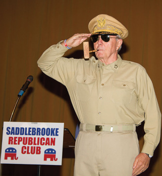 General Douglas MacArthur (portrayed by Board Director Wayne Larroque) was the mystery guest at the November 12 Republican Club Forum.