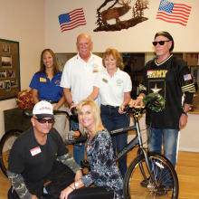 From left, back: ER Gloria Cisneros, Bob Kielsa, Lucy Suddath and veteran Mike Baracco; front: veteran Mike Holsten and Kelly Laurich, Rehabilitation Center Rec. SME.