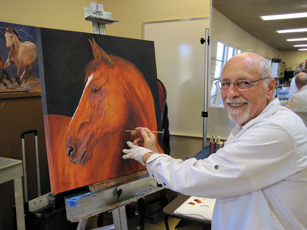 Richard Bynum enjoys taking painting classes from Wanda Tucker.