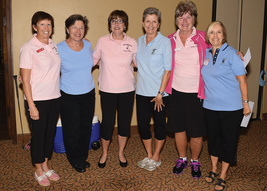 Winners two of two: SaddleBrooke winners from left (wearing pink) are Maude Ruffin, Mary Beth Snyder and Carol Ratza. The ladies in blue are the Quail Creek Putters.