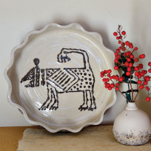 Slip Trailed Dog, high-fired stoneware by Susie Cochran