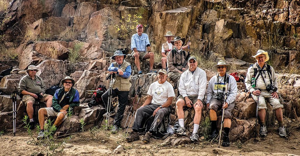 Aravaipa Canyon hiker/photographers, front: Dick Kroese, Ron Taylor, Doug Armstrong, Bob Shea, Kent Banta, Richard Spitzer and Byron Cotter; back Dan Garand, Bill Todd and Connie Sparbel; photo by Bob Shea