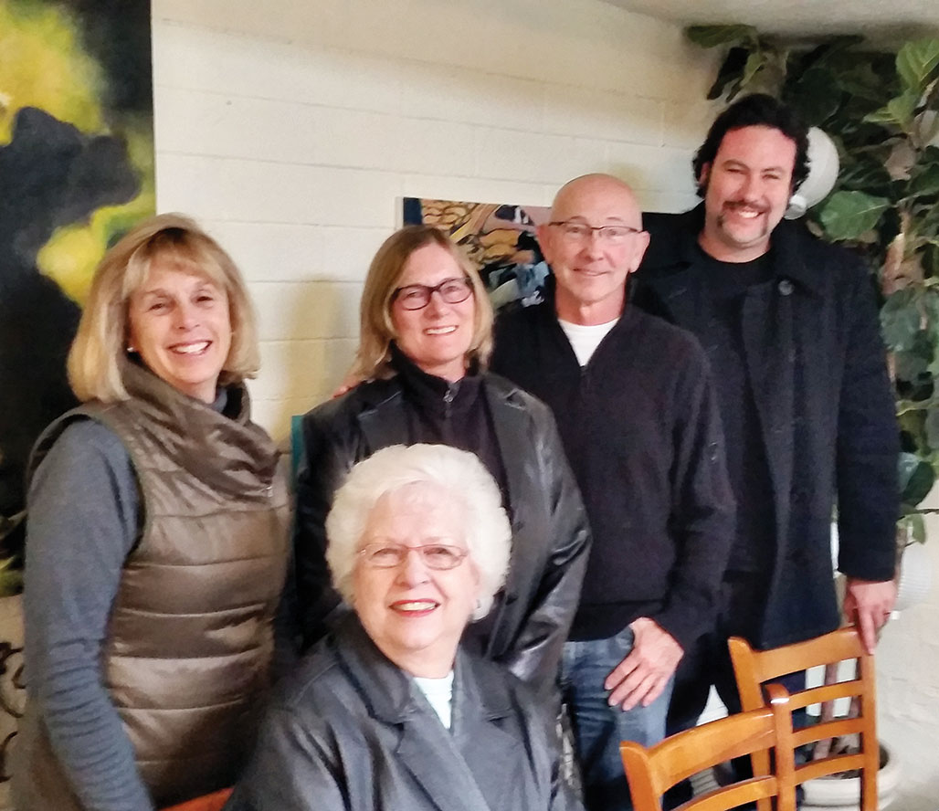 Front: Elaine Helzer, chairman; Back: Rachel Opinsky, secretary, Mary Huebner, treasurer, Freshwater, director, Stephen Cook, artistic director; not pictured Earlene Lewis, director