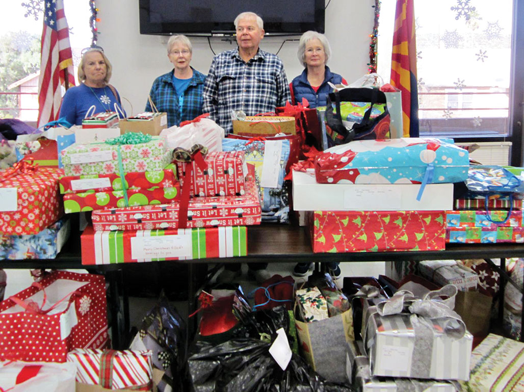 At Hayden Senior Community Center are Janet, Tom and Sandy Simester and Shanna Schudda