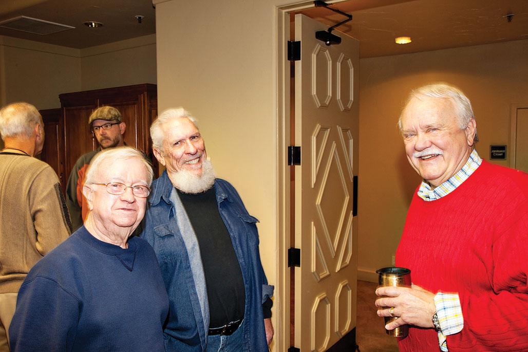 Joe Liske, Jim Eaton and John Triebe visiting before DIGS meeting; photo by Bill Brennan.