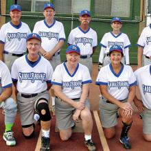 2014 Fall Season Monday Recreation League Champion – Shifren Physical Therapy, back row: Charles Hendryx, Dave Good, Jeff Rayner, Sandie Hills and Ken Schuttler; front row: Jonathan Green, Paul Jarzembinski, Janet Jarzembinski, Denise Norgard and Dale Norgard; photo by Pat Tiefenbach