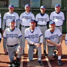 2014 Fall Season Monday Community League Champion – BRAKEmax, back row: Darrell Sabers, Jim Dunlap, John Perfetti, Allan Kravitz, Rob Lowry and Debbie Seguin; front row: Tom Klein, Dave Stevens, Rick Waldorf, Jim Westerberg and Jake Jacobson; photo by Pat Tiefenbach