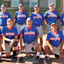 2014 Fall Season Thursday Coyote League Champion – Caliber Collision, back row: Jim Westerberg, Larry Cusumano, Dennis Skoneczka, Jim Smith and Dominic Borland; front row: Bill Wescoe, Paul Butler, Ken Meinhart, John Nola and Dale Norgard; photo by Pat Tiefenbach