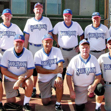 2014 Fall Season Friday Competitive League Champion – Central Alarm, back row: Dominic Borland, Joe Sanders, Bob Lenihan, Charlie LaNeve and John Reingruber; front row: Harry Adams, Bob Chiarello, Bruce Fink, Mike Hamm and Harold Weinenger; photo by Pat Tiefenbach