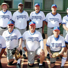 2014 Fall Season Friday Community League Champion – SaddleBrooke R Us, back row: Darrell Sabers, Leroy Johnson, Mark Forsch, Greg Giefer and Bob Stiens; front row: John Nola, Jim Westerberg, Jerry Cowart, Jack Graef and Allan Kravitz; photo by Pat Tiefenbach