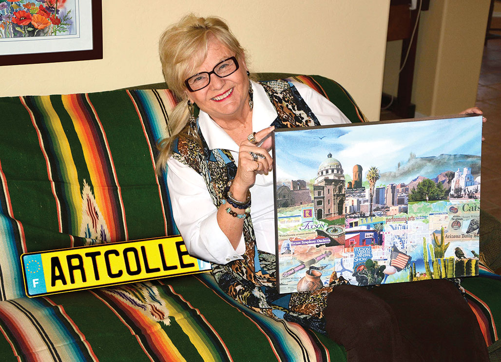 Gretchen Bierbaum and collage titled Tucson; photo by John Howard Sprenkle.