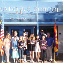 From left, front: Assistant Principal Michele Goodman, Emeline Segmiller, Hannah Tarpley; Back: Catalina Mountain Youth Activities Coordinator Peggy Nelson, Zara Bauer, Gracie Brinkerhoff, Hannah Irwin, Ruby Bemis, Principal Gerad Ball and Catalina Mountain Americanism Chairman Al Peterson. .