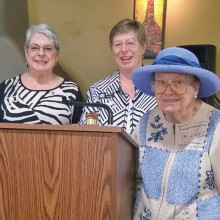 Left to right: Janice Hacking, treasurer; Mary Ann Mehlhorn, first vice president; Barbara Treick, president; LaVerne Tucker (in hat) second vice president; and Paulette Stark, secretary; photo courtesy of Kay Lantow