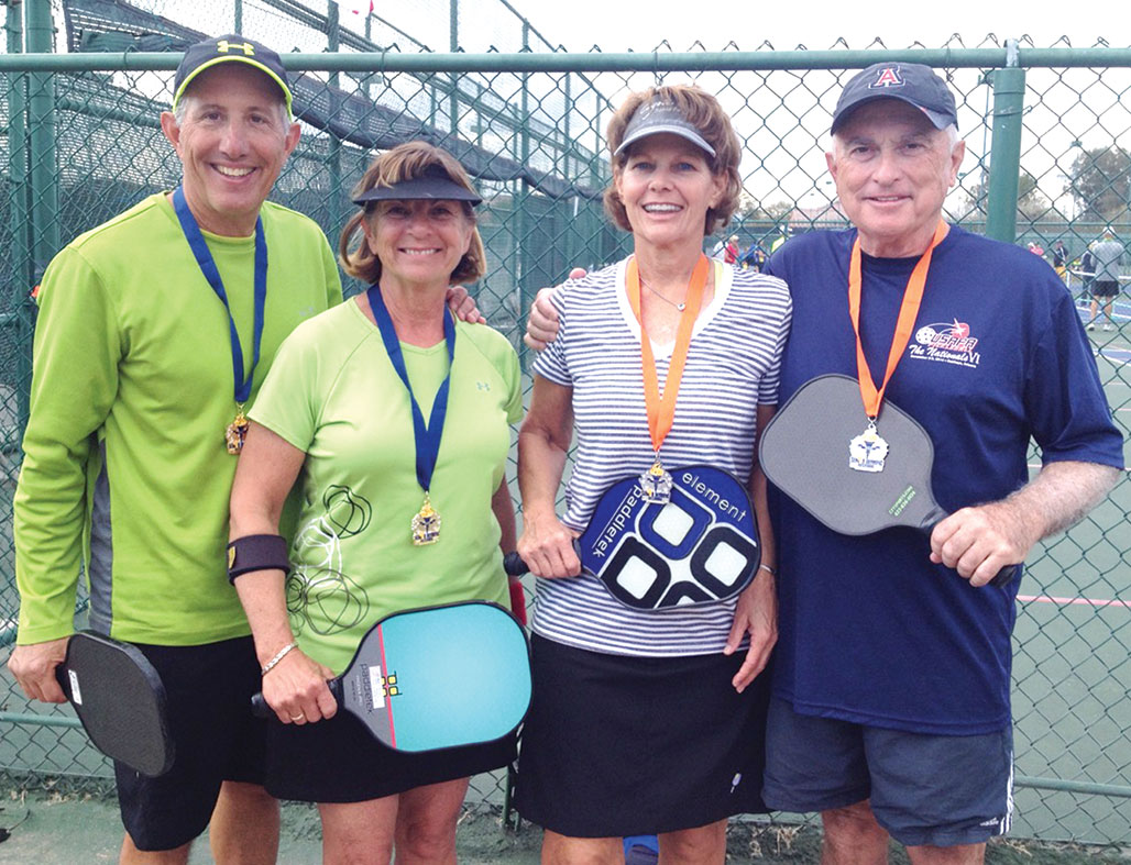Peter and Diana Giljohann (left) won the gold medal and Joan and Mark Van Matre (right) won the silver medal in the Mixed Doubles (50 plus) 4.5 skill level in the Tucson Senior Olympic Festival held in January.