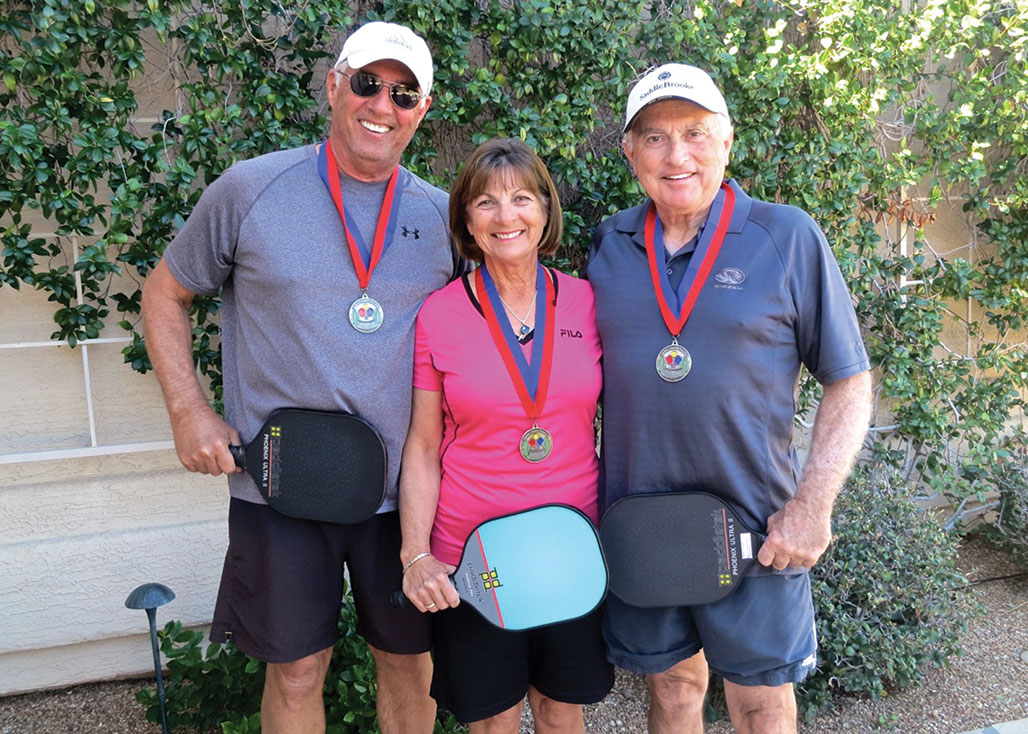 Bob Koerner (left) Diana Giljohann (middle) and Mark Van Matre (right) won silver medals at the Mission Royale Pickleball Tournament in Casa Grande, Arizona, in late January. Koerner and Van Matre were partners in the Men's Doubles (4.5 skill level) and Giljohann and her partner won in Women's Doubles (4.5 skill level).