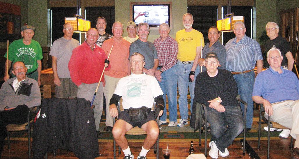 """On January 24, 2015, an 8-Ball Tournament was held at the SaddleBrooke Ranch, run by Tournament Directors Dominic """"The Doctor"""" Borland and Joe """"Fast Eddie"""" Giammarino. We had 18 participants (wow!). SaddleBrooke residents and guests were Dominic """"The Doctor"""" Borland, Joe """"Fast Eddie"""" Giammarino (not pictured), Jim """"Aviator"""" Wydick, Tom """"Half Jacket"""" Barrett, Richard """"Villa Park"""" Werkmeister, Al """"Big Al"""" Petito, Gary Rowell (front center), Don """"Deadeye"""" Cox, Don """"California Kid"""" Fowler, John Nola, Fred Dianda (not pictured) and from the Ranch the participants were Richard """"Loose Rack"""" Galant, Harley Schlachter, Frank Sciannella, Jim Kauffman, Peter Bratz, Tom """"Teck"""" Sorensen and Cliff """"Lucky Shirt"""" Terry."""