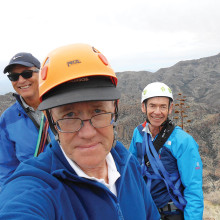 Roy Carter (front), Mike Wolters (left) and Frank Brier pose for a selfie at the top of Weaver's Needle in the Superstitions.