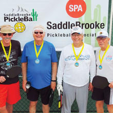 3.0 Men's Doubles, left to right: Jon Bailey, Jim Schlote – Silver; Stan Fly, Len Gajeske – Gold; Not shown: Randy Olson, Tom Martin – Bronze