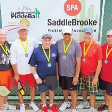 4.0+ Men's Doubles, left to right: Bob Long, Bob Shelton – Bronze; Mark Van Matre, Bob Koerner – Gold; Ed Szympruch, John Tancock – Silver