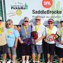 2.5 Mixed Doubles, left to right: Melvyn and Susan Durchslag – Bronze; Patty Roberts, Mike Smith – Gold; Sandy McNabb, Bud Mottice – Silver