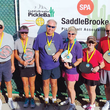 3.5 Mixed Doubles, left to right: George Cobb, Susan Deskovich – Bronze; Don and Linda Cornish – Gold; Linda Bailey, Jim Haakenson – Silver