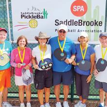 4.0+ Mixed Doubles, left to right: Bob Long, Jodie Koerner – Bronze; Joan VanMatre, Bob Koerner – Gold; Jackie Kline, Mark VanMatre – Silver