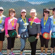 2.5 Women's Doubles, left to right: Susan Frederickson, Fran Berman – Bronze Medalists Cathy Scott, Doreen Morgan – Gold Medalists; Christine Reiner, Ginny Jeronimus – Silver