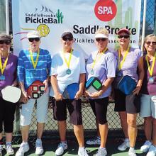 3.0 Women's Doubles, left to right: Nancy Richter, Julie Brown – Silver; Linda Deuel, Susie Arnold – Gold; Karol Jackson, Shirley McCarey – Bronze