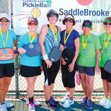3.5 Women's Doubles, left to right: Cindy McNown, Linda Bailey – Silver; Tina Huber, Kathy Jensen – Gold; Mary Gajeske, Gail Campbell – Bronze