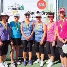 3.25 Women's Doubles, left to right: Joni O'Brien, Jean Beyer – Silver; Jeanie Medema, Pat Tarr – Gold; Pat Morris, Carol Osgood - Bronze