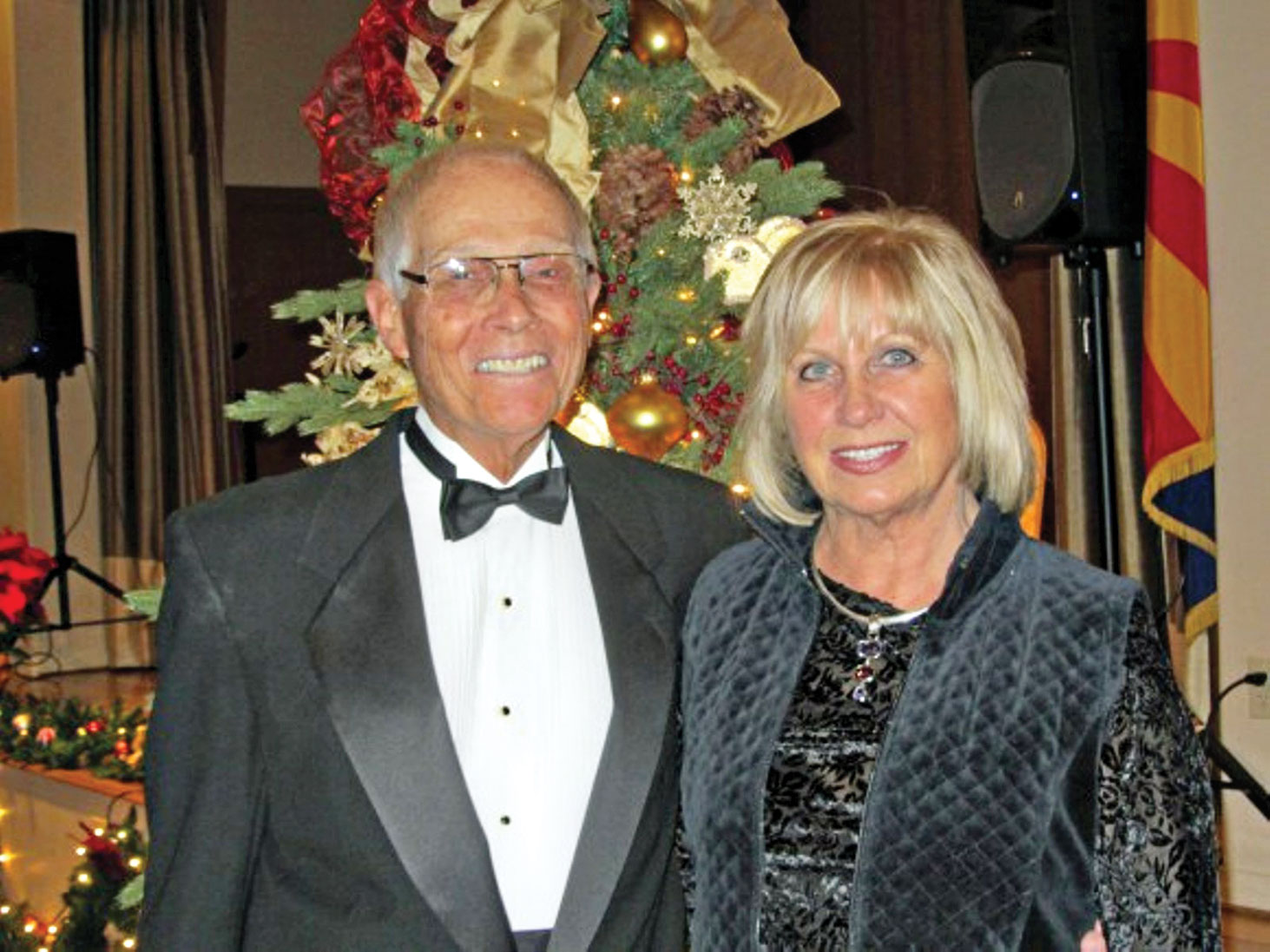 June and Don Stoebner at the Unit 27 Holiday Party, December, 2014; photo by Ron Talbot.