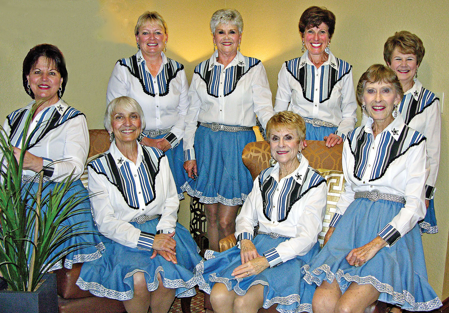 From left, front: Sylvia Bonesky, Donna Leonard, Pat Cox and Pat Tiefenbach; from left, back: Jo Helms, Carol Jones, Diane Korn and Stephanie Cady.