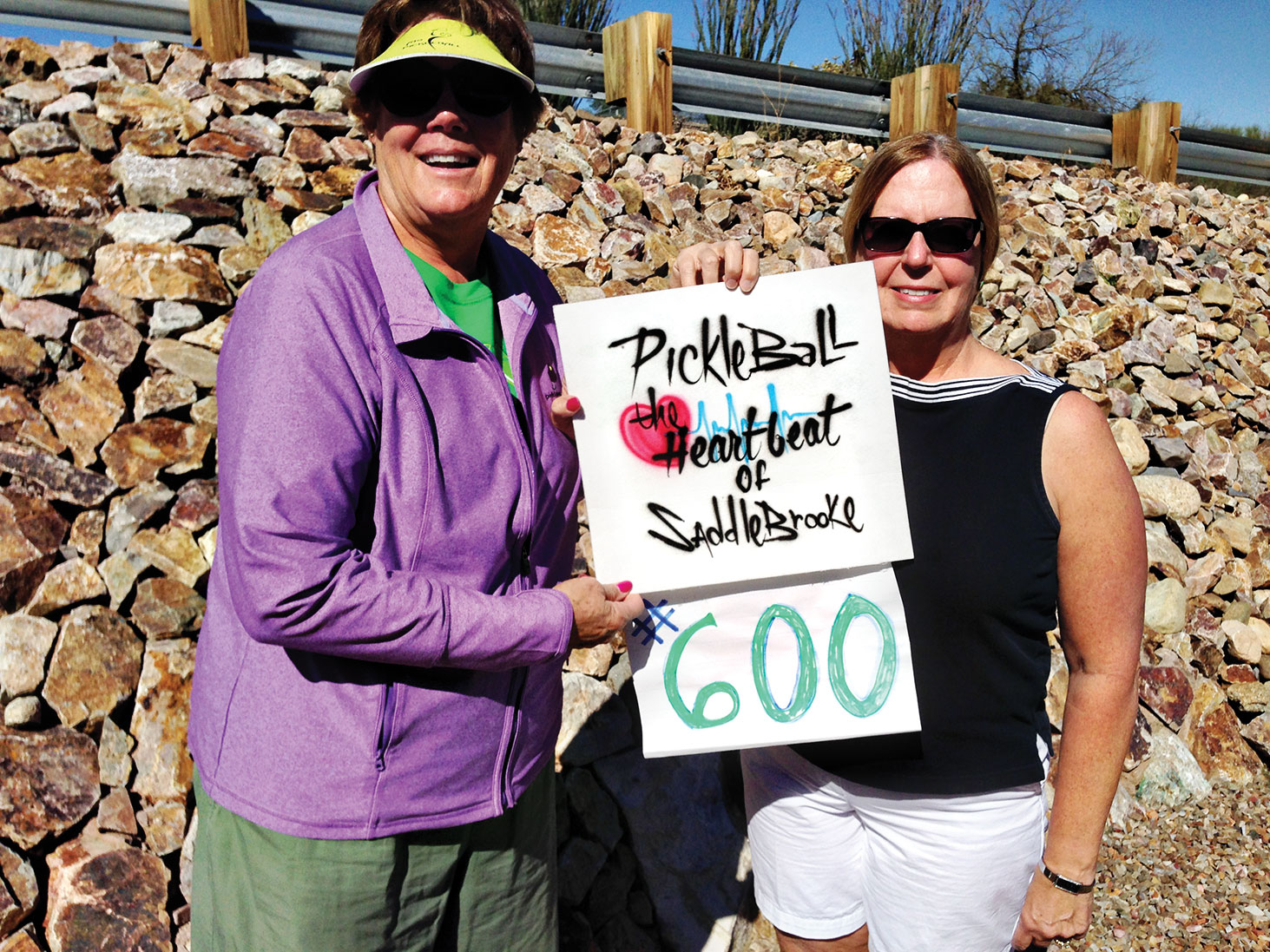 At the RidgeView Courts is the 600th member of SPA – Charla Blacker-Eggleston (right), being recognized and congratulated by SPA President Shawne Cryderman.