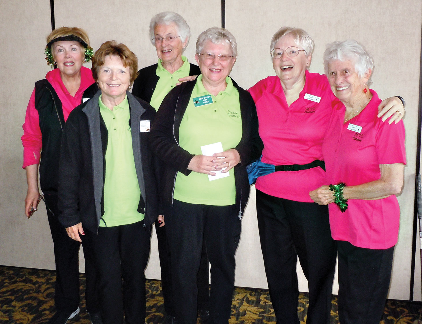 The First Place winning team members are Vicki Strief, Lenny Hillis, Gail Crawford, Irene Somes, Ginny Schoepf and Ruth Catalinotto.