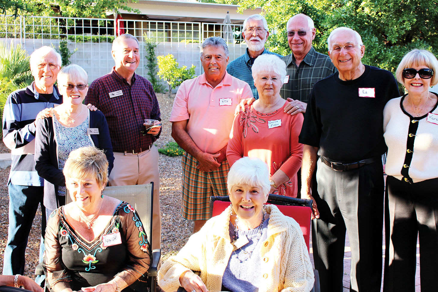 Pictured are John and Bette Mazujian, Pete Hubert, Ron Rivas, Hans Spiecker, Donna and Jim Fisher, Ed and Karen Skaff, Sande Rivas and Margaret Hubert.