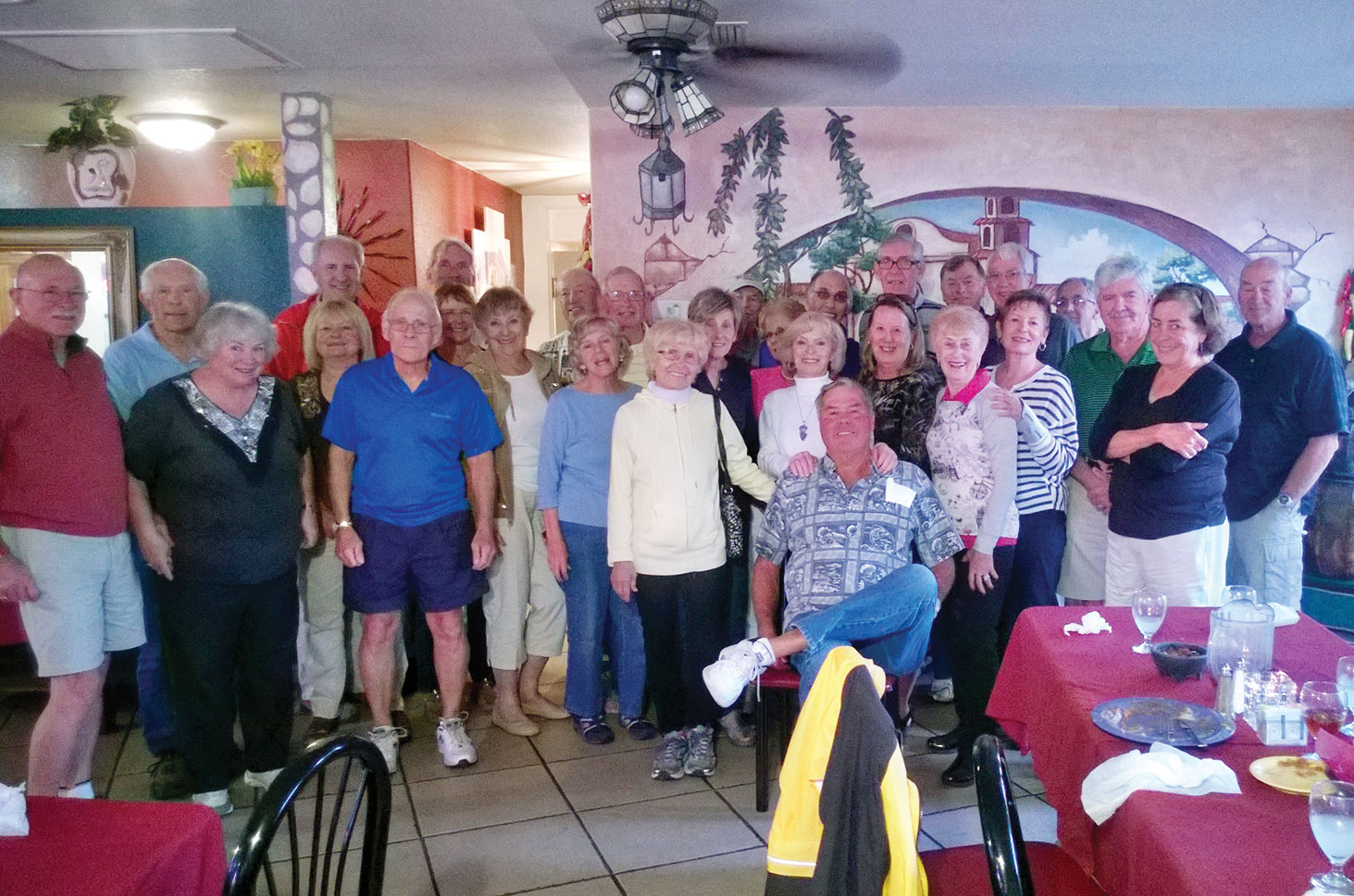 The group enjoyed a great dinner after a hard day's ride.