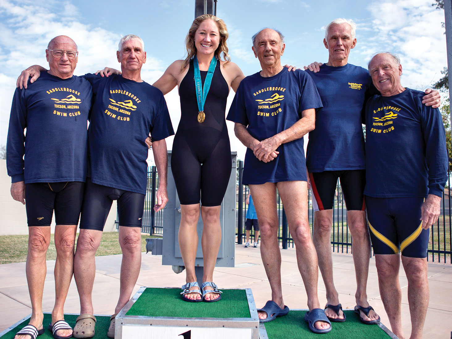 Olympic Gold Medalist Misty Hyman congratulates five SaddleBrooke swimmers for receiving U.S.M.S. 2014 All American.