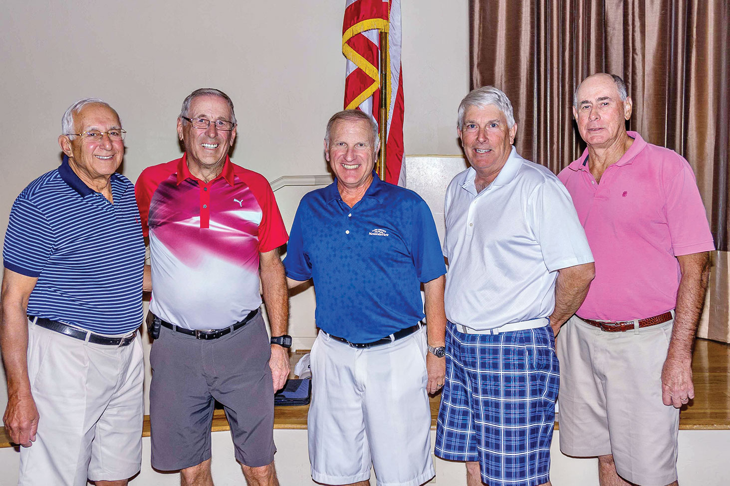 Left to right: Finalists Ed Skaff and Jerry Westra, President Dennis Marchand and Finalists Jon Michels and Ron Tie
