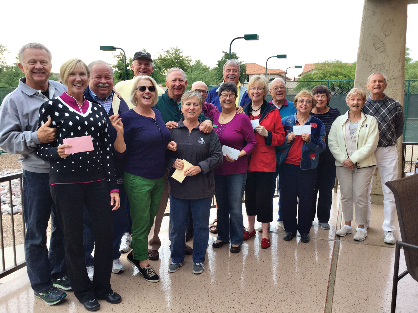 Left to right: First place Kay Kunze and Chuck Fries; second place Anja Voorman and John Hanna (standing in for Otto); Carter Wareing, Mardie/Chris Toney, Ruth/Dale Leman, Sandy/Bill Bryant, Norma/Don Kessler, Victoria Wareing and Geri/Paul Conser